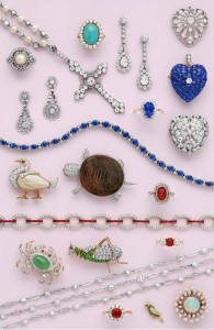 Edwardian jewelry, 1901 to 1920, finest color gemstones, inumerable diamonds, setting of gold and platinum